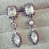 Unique Women's Crystal Rhinestone Gem Waterdrop Pendant Dangle Eardrop Earrings (Size: One Size) = 1946015172