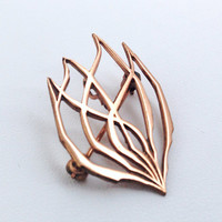 Signed Wolpert Burning Bush Abstract Brooch Pendant - Rose Gold Tone - Judaica - Jewish - Israel - Moses - Mt. Sinai - modernist torah fund