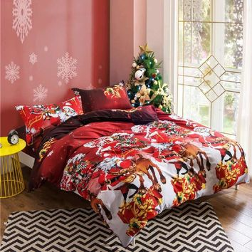Prajna Christmas 2017 Bedding Set Rose Santa Claus Reindeer Deer Duvet Cover Set Flat Bed Sheet Bedspread For Kids Children