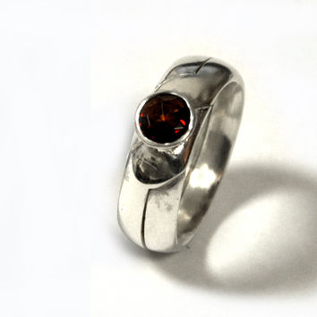 2 piece Engagement Ring || Puzzle Ring || Sterling silver, set with red garnet || classic || Handmade in Israel || Puzzle Rings Collection