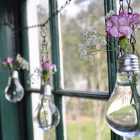 Set of 3 hanging Vases made from Recycled Light Bulbs.
