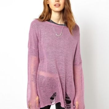 ASOS Slouch Sweater In Fluffy Fine Knit - Lilac