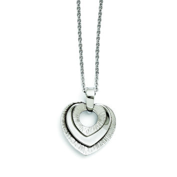 Stainless Steel Heart Three Piece Polished Necklace SRN1346