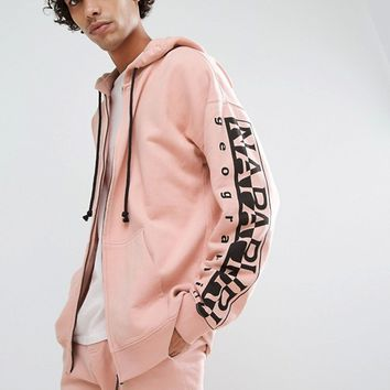 Napapijri Badstow Zip-Thru Hoodie In Pink at asos.com