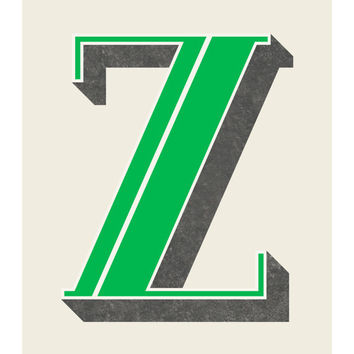 The Letter Z, Original Art Print, Typography, Alphabet, Green, Charcoal Gray, 11x14