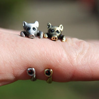 Little piggy adjustable wrap rings in antique silver and antique gold tone