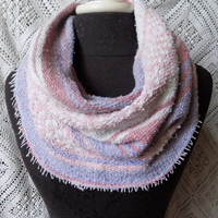 Subtle, Elegant Pink and Lavender Mexican Blanket Small Cowl Scarf- Free Shipping to Continental US
