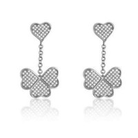 Fashion Jewelry Sterling Silver Dangling Earrings with Glittering Micro Pave 4-Leaf Clover Design