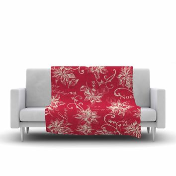 "Jacqueline Milton ""Poinsettia Joy"" Red Holiday Floral Illustration Painting Fleece Throw Blanket"