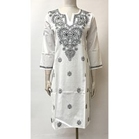 Lucknowi Embroidered Cotton Kurta