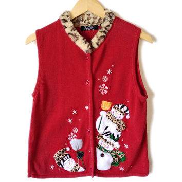 Leopard Print Trim Snowman Ugly Christmas Sweater Vest - The Ugly Sweater Shop