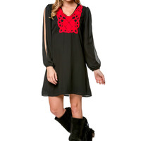 Black/Red Long Sleeve Crochet Dress