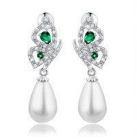 Shell Pearl W. Green Teardrop and Clear Round Cubic Zirconia Earrings