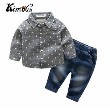 Trendy kimocat new High quality baby boy clothes Spring and  Autumn long-sleeve fashion polka-dot lapel shirt + denim pants AT_94_13