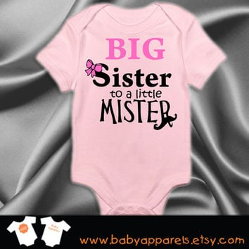 Big Sister to a little Mister Baby Bodysuit, Cute Baby Clothes, Custom Baby Gift, Baby Announcement by BabyApparels.etsy.com