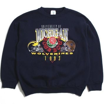 University of Michigan 1993 Rose Bowl With Schedule Artex Crewneck Sweatshirt Navy (Large)