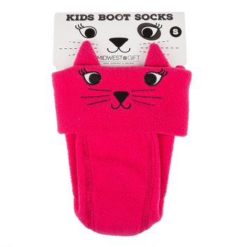 Kids' Medium Cat Fleece Boot Socks