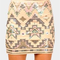 Techtonik Mini Skirt - Beige