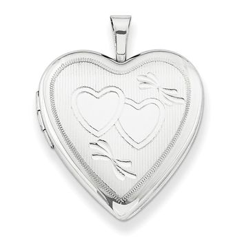 Sterling Silver 20mm Double Hearts Heart Locket