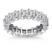 14K White Gold Common Prong Princess Cut Diamond Eternity Ring, size 6