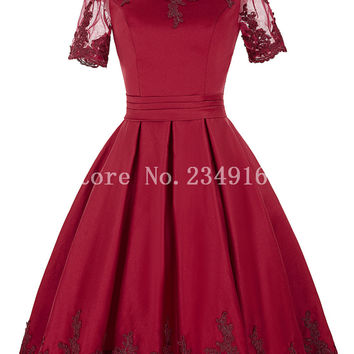 Elegant Appliques Short Prom Gown Short Graceful Homecoming Dress Taffeta Cheap A Line Pretty Cocktail Dress
