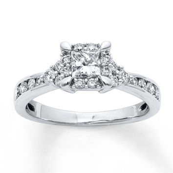 Diamond Engagement Ring 1 Carat tw Round-cut 14K White Gold