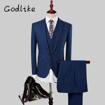 GODLIKE Men's business casual wear, new check suit, white - collar style suit, fashion personality three pieces. A suit
