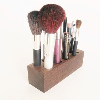 Walnut Wood Makeup Brush Holder