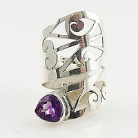 Amethyst Adjustable Sterling Silver Cutout Wrap Ring