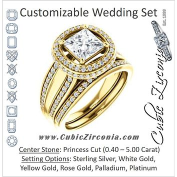 CZ Wedding Set, featuring The Deena engagement ring (Customizable Halo-style Princess Cut with Under-halo & Ultrawide Band)