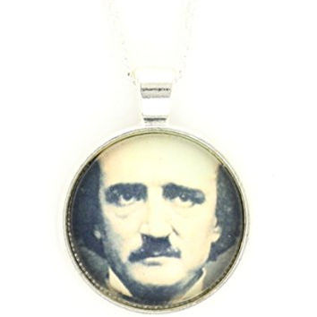 Edgar Allan Poe Necklace Silver Tone Antique Daguerreotype Portrait Print Pendant NP58 Fashion Jewelry