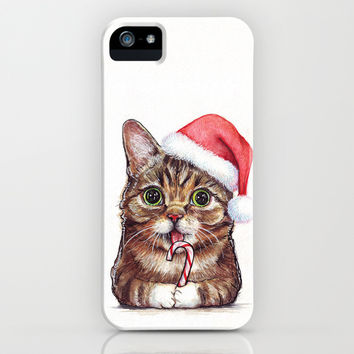 """""""Lil Bub"""" Cat in Santa Hat iPhone & iPod Case by Olechka 