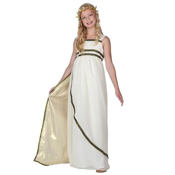 Child Ethereal Athena Olympic Goddess Costume Greeks Historical Fancy Dress