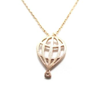 Miniature Hot Air Balloon Shaped Cut Out Charm Necklace in Rose Gold   DOTOLY
