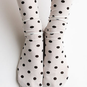 Women Brand New Hezwagarcia Cute Polka Dot Pattern White Mint Colored Polyester Spandex Socks Hosiery