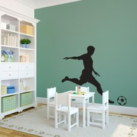 Sports Soccer Player Kicking Ball - Sports - Vinyl Wall Art Decal for Homes, Kids Rooms, Nurseries, Preschools, Kindergartens, Elementary Schools, Middle Schools, High Schools, Universities, Colleges