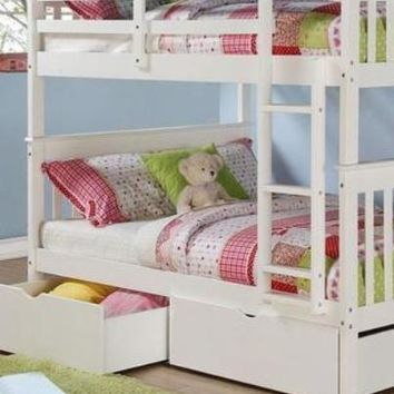 Sarah Full White Bunk Bed with Storage