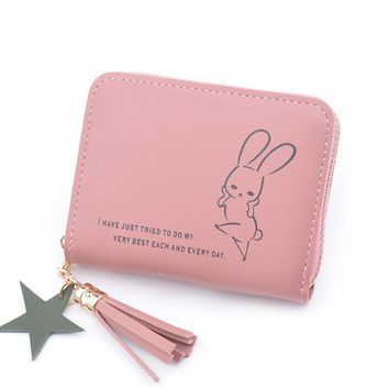 Zipper Coin Purses For Women Item Credit Card Organizer 2018 New Zipper Lady Cute Rabbit Pouch Girl Clutch Wallet PU Leather