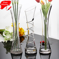 Transparent glass table small vase