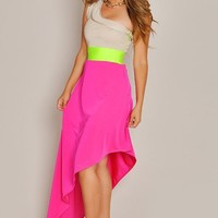 Asymmetrical Color Bright Angled Maxi Dress