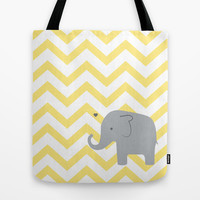 Baby Elephant Tote Bag by Janelle Krupa