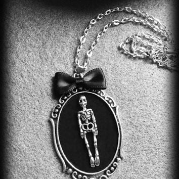 Gothic Skeleton Necklace, Antique Silver, Black Velvet Cameo, Halloween Necklace, Handmade Jewelry, Gothic Gift Idea