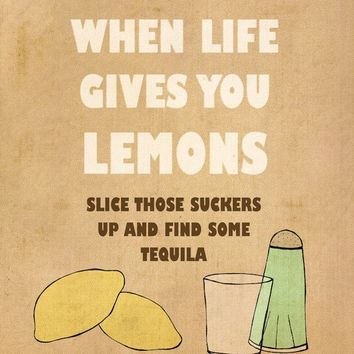 Lemons 8 x 10 Inspirational Funny Illustration and by lisabarbero