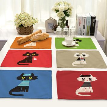 Animal Series Cotton Linen Art Heat Insulation Western-style Food Pad European Kitten Printing Foreign Trade Tableware