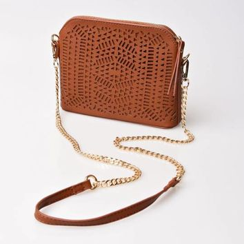 Brown Leatherette Cutout Crossbody Purse