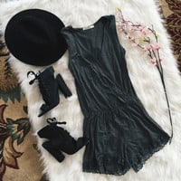 V Neck Lace Trim Romper (Gray)