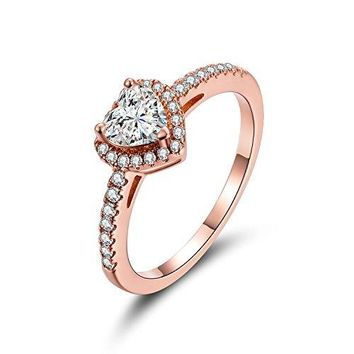 AUGUAU Luxurious Rose Gold Plated Cubic Zirconia Infinity Love Solitaire Promise Eternity Ring