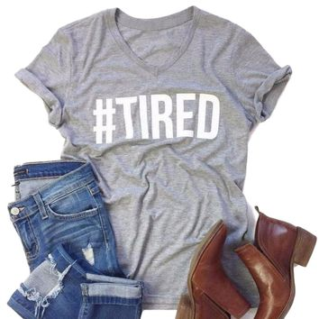 Women's Short Sleeve #Tired Gray Basic T-Shirt V-Neck Top