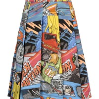 J.W. Anderson Cartoon Printed Skirt - Pleated Skirt - ShopBAZAAR