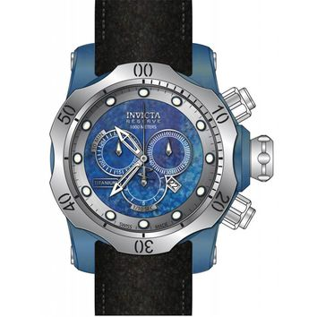 Invicta 15997 Men's Venom Chronograph Blue Titanium Dial Black Leather Strap Dive Watch
